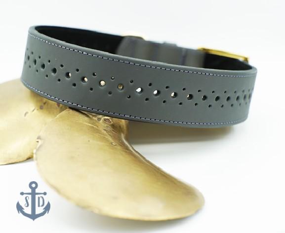 The Rene Grey Leather Collar