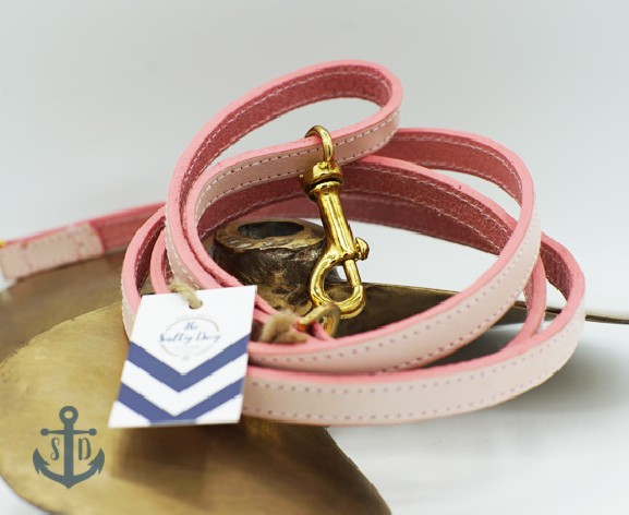 The Rene Pink Leather Dog Lead